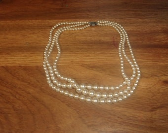 vintage necklace triple strand faux pearls