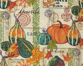 Pumpkins and Gourds, Fall Harvest, Gourds & Leaves, Autumn Leaves, By the Yard