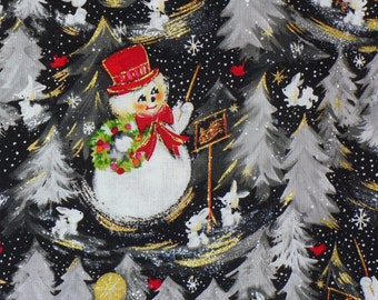 Snowmen Fabric, Christmas Fabric, Snowmen with Bunnies, Redbirds, Snowflakes,  By the Yard