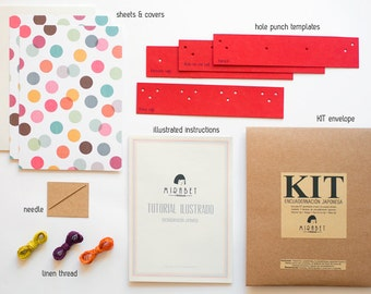 DIY Japanese book binding KIT in ENGLISH - Includes illustrated tutorial - Do It Yourself