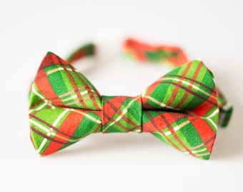 Boys Christmas Bowtie - Red and Green Plaid - Baby Christmas Bowtie