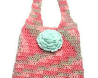 Crocheted Pink Bag Crochet Tote Pink and Mint with Flower, Variegated Pink Bag