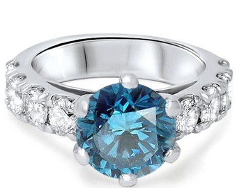 3.50CT Blue Diamond Engagement Ring Round Brilliance Cut 6 Prong 14K White Gold