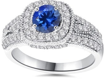 1.65CT Blue Sapphire & Diamond Vintage Ring 14K White Gold - Size 4-9