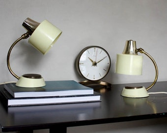 1950s Table Lamps. Cream and Gold. Accent Lighting. Mad Men Style.