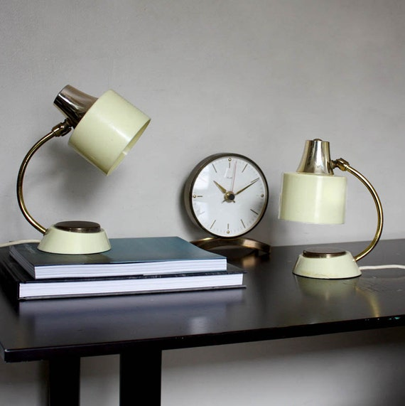 1950s Table Lamps Cream And Gold Accent Lighting Mad Men
