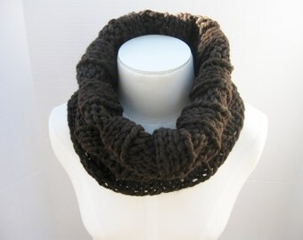 Wool bulky cowl espresso brown hand knitted