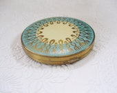aqua cream 1930s compact brass