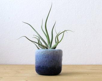 Aqua air plant planter / Felt succulent planter / mini plant vase / cactus vase / Ombre blue / air plant gift / gift for her / gift for wife