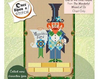PDF cross stitch patterns : Mayor Munchkin Wizard of OZ Brooke's Books story time e-pattern hand embroidery instant download