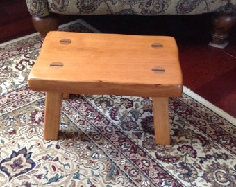 Rustic wood footstool, solid Cherry step stool with a natural finish that is made to order