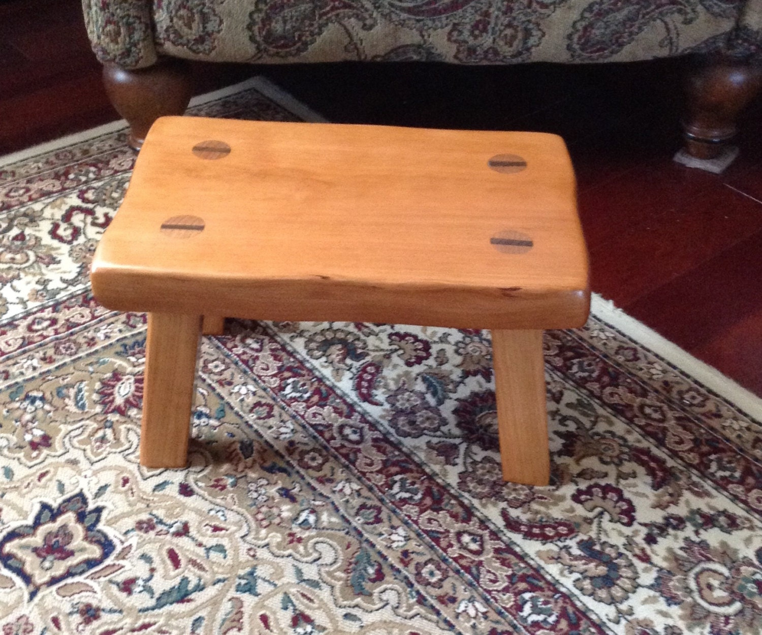 Rustic Wood Footstool Solid Cherry Step Stool With A Natural
