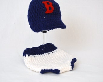 Boston Red Soxs BaseBall Hat and Diaper Cover