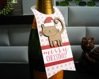 Christmas Wine Bottle Tag, Cat Lover Gift, Wine Tag, Microbrew Beer Tag, Gift for Kitty Lover, Hostess Gift, Cat Gift Tags
