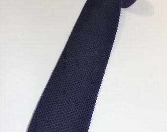 "vintage 70's - 80's Men's knit neck tie from Kuppenheimer. 100% Durene Cotton - Navy Blue.  2 3/8"" width."