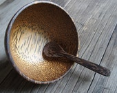 Palm Wood Bowl Set with Spoon Handmade Natural Color