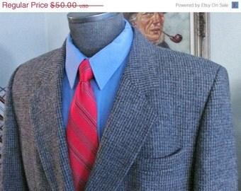 Vintage Mens Tweed Jacket ,Mens Double Breasted Tweed Blazer, 1980,s Mens Tweed Coat, Brown Tweed Suit Jacket Tweed---Check Measurements ,
