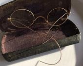 Antique Gold Rim Bifocals with metal case