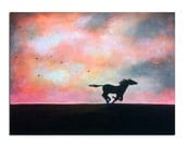 Horse in sunset with birds painting Original and Inspirational art
