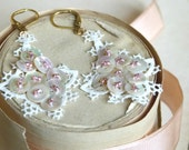 Antique French 1910 lace appliques embellished w/ antique mother of pearl buttons & rose gold pink miyuki beads vintage wedding bride
