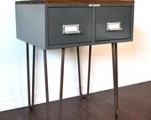 Side Table or Nightstand Vintage File Box With Wood Topper On Hairpin Legs