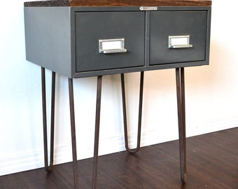 RESERVED FOR SARA Side Table or Nightstand Vintage File Box With Wood Topper On Hairpin Legs