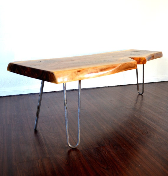 Legs For Live Edge Coffee Table: Live Edge Coffee Table White Oak Topper On Steel Hairpin Legs