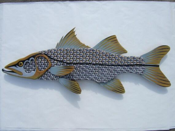 Metal Fish Wall Lights : Snook Fish Metal Wall Art Miller Light Bottle Cap by EricsEasel