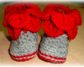 Red Baby Booties for Christmas - baby shoes - crochet booties - winter booties - crochet shoes - red crocht booties- kids booties - grey