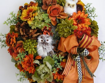 Fall Wreath , Autumn Wreath , Halloween Wreath, Owl Wreath, Thanksgiving Wreath, Christmas Wreath