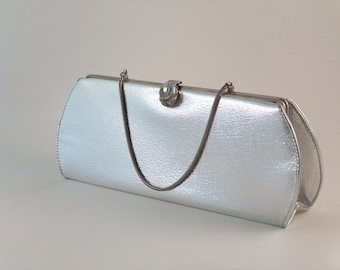 Vintage Clutch Evening Bag Silver Aurora Borealis Clasp