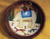 Christmas Folk Art Hand Painted Vintage Primitive Wood Bowl- READY TO SHIP - Polar Bear, Elf,  Fox, Raccoon,  Crow Snow Bunnies, Snowy Woods