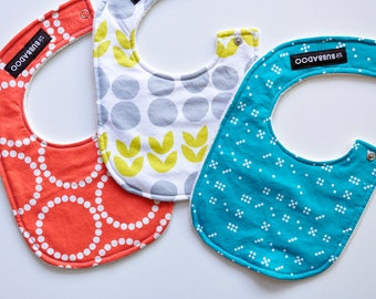 modern baby bibs, set of 3 baby bibs backed with organic cotton sherpa