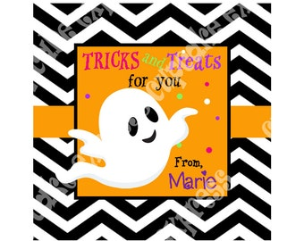 DIY Halloween #6 Personalized Gift Tag PRINTABLE tag sticker label ghost