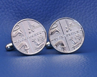 British 5p Coin Cufflinks - Coat of Arms UK England Britain 5 Pence