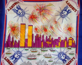 1886-1986 Liberty Centennial handkerchief USA NYC WTC