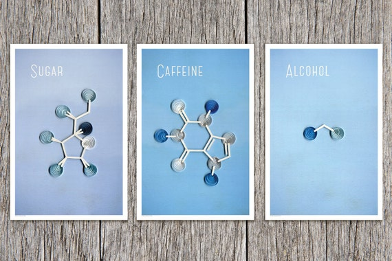 The kitchen molecules paper art print set sugar caffeine and for Quilling kitchen set