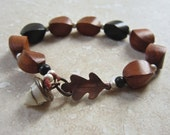 Oak leaf and acorn bracelet, artisan bead bracelet, copper and lampwork braclet, nature jewellery, thea jewellery