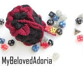 Dragon scale dice bag- black and dark red/maroon - READY TO SHIP