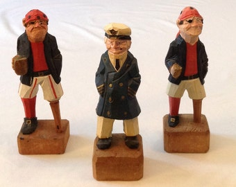 Set of 3 hand carved retro wooden pirates