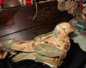 Primitive Bird pin keep pin cushion bowl filler
