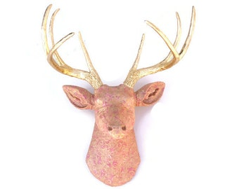 Goldilocks Princess Deer  -Faux Taxidermy Deer Head Wall Mount - Fake Resin Wall Decor - Luxurious Elegant Pink and Gold Fabric Deer-FAD0508