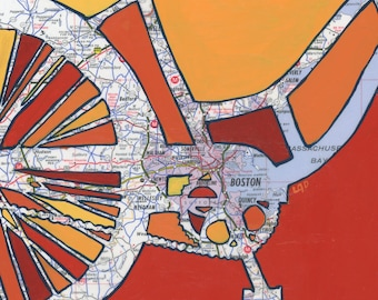 Bike Boston print 13x13 Cambridge, Somerville, Watertown, Wellesley, Needham, Quincy, Waltham Massachusetts- bicycle art
