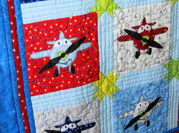 Pdf Pattern Applique Airplane Baby Quilt Pattern 8 Inch