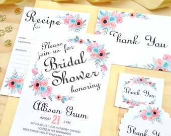 Bridal Shower Invitation, Instant Download Editable Word Template, Digital DIY Invitations Lucite Green Blue Aqua Turquoise Rustic Vintage