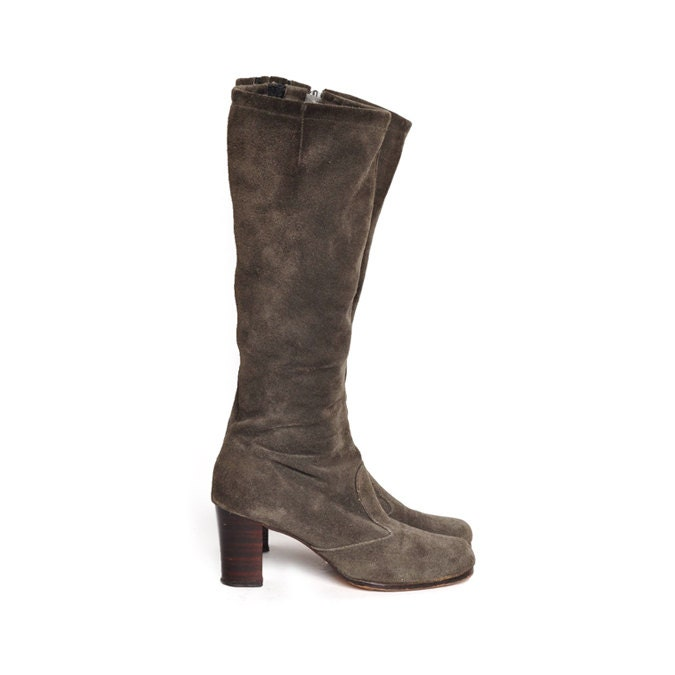 grey suede knee high boots size 7