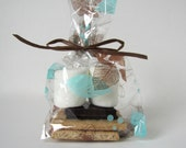 S'more Favor Packaging, Wedding S'more Favor Bags, favor bags leaf motif  from Kiwi Tini