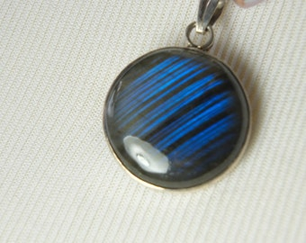 Blue and Grey Pearl Necklace with Electric Blue Labradorite Pendant