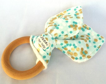Natural Wooden Teething Ring, in teal and metallic gold shimmer
