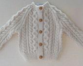 Hand Knit Irish Fisherman Cardigan - 6-12 months
